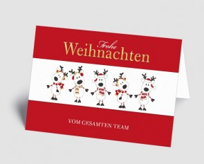 Weihnachtskarte 1519308 Teamkarte rot lustige Elche