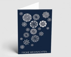 Weihnachtskarte 1519309 Eiskristalle dunkelblau