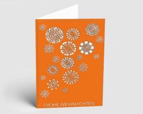 Weihnachtskarte 1519310 Eiskristalle orange