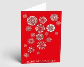 Weihnachtskarte 1519311 Eiskristalle rot