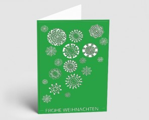 Weihnachtskarte 1519312 Eiskristalle grün