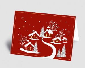 Weihnachtskarte 1519314 verschneites Dorf rot