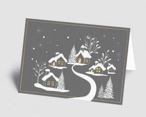Weihnachtskarte 1519316 verschneites Dorf grau