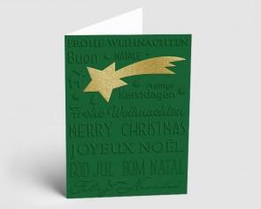 Weihnachtskarte 1519319 Sternschnuppe und internationaler Text, grün