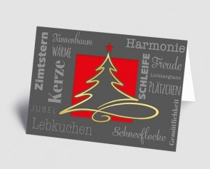 Weihnachtskarte 1519322 moderne Typografie und Schwungbaum, rot