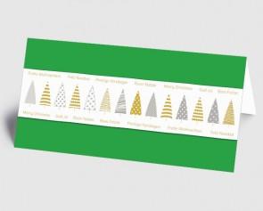 Weihnachtskarte 1519328 grafische Bäume und internationaler Text, grün