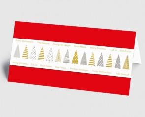 Weihnachtskarte 1519329 grafische Bäume und internationaler Text, rot
