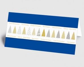 Weihnachtskarte 1519330 grafische Bäume und internationaler Text, blau