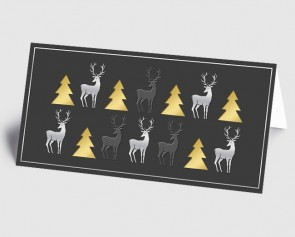 Weihnachtskarte 1519332 moderne Elemente Hirsch und Baum, grau-gold