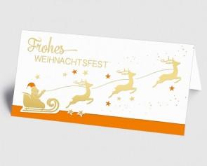 Weihnachtskarte 1519337 Weihnachtsmann mit Rentierschlitten, orange