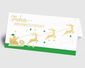 Weihnachtskarte 1519338 Weihnachtsmann mit Rentierschlitten, grün