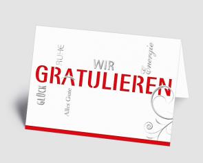 Grusskarte 1520102 Typo-Art rot