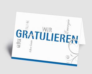 Grusskarte 1520104 Typo-Art blau