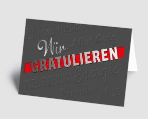 Grusskarte 1520106 Wir gratulieren grau-rot