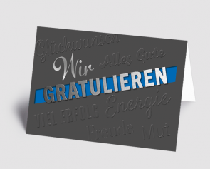 Grusskarte 1520107 Wir gratulieren grau-blau