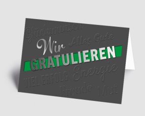 Grusskarte 1520108 Wir gratulieren grau-grün