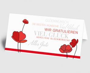 Grusskarte 1520114 Typo-Art rote Blumen