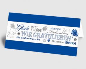 Grusskarte 1520119  Wir gratulieren blau