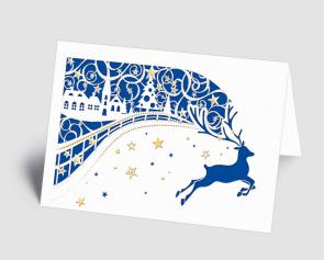 Weihnachtskarte 1520306 filigranes Dorf mit Hirsch blau
