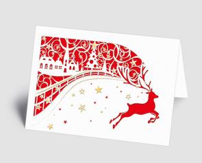 Weihnachtskarte 1520307 filigranes Dorf mit Hirsch rot