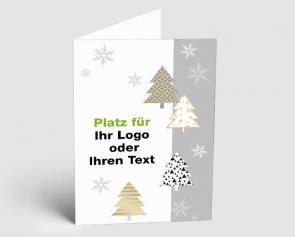 Logo-Weihnachtskarte 1520401 moderne Weihnachsbäume gold-silber