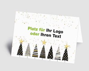 Logo-Weihnachtskarte 1520402 grafische Bäume schwarz-gold