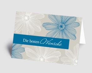 Grusskarte 1521105-101 florales Design blau