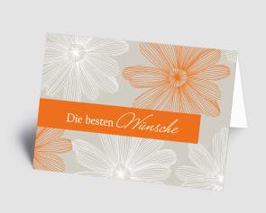 Grusskarte 1521105-103 florales Design orange