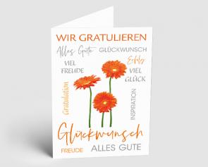 Grusskarte 1521106 Typo-Art Gerbera
