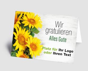 Logo-Grusskarte 1521201 Sonnenblumen