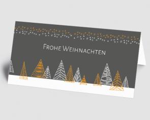 Weihnachtskarte 1521314-103 grafischer Winterwald, grau-orange