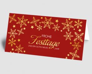 Weihnachtskarte 1521315-100 goldene Flocken, rot