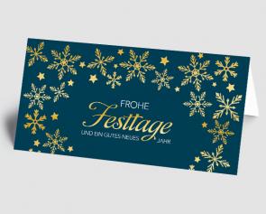 Weihnachtskarte 1521315-101 goldene Flocken, blau