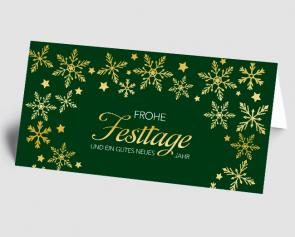 Weihnachtskarte 1521315-102 goldene Flocken, grün