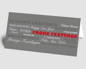 Weihnachtskarte 1521316-100 Schriftkarte international, grau-rot