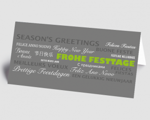 Weihnachtskarte 1521316-102 Schriftkarte international, grau-grün