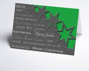 Weihnachtskarte 156504-102 Sterne grün