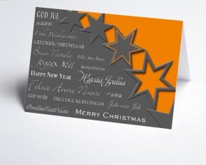Weihnachtskarte 156504-103 Sterne orange