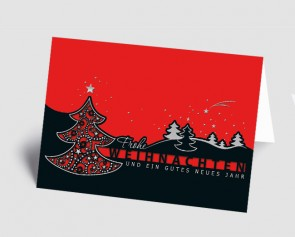 Weihnachtskarte 157501-100 filigraner Baum schwarz-rot