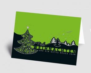 Weihnachtskarte 157501-102 filigraner Baum schwarz-grün