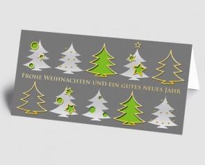Weihnachtskarte 157507-102 Bäume grau-grün