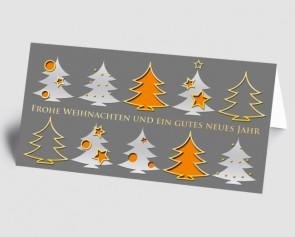 Weihnachtskarte 157507-103 Bäume grau-orange