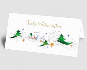 Weihnachtskarte 157510-112 gezeichnetes Dorf