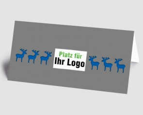 Logo-Weihnachtskarte 157511-101 Elch grau-blau