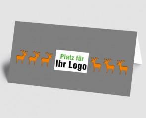 Logo-Weihnachtskarte 157511-103 Elch grau-orange
