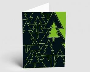 Weihnachtskarte 157522-102 Bäume schwarz-grün