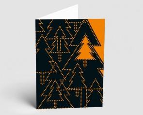 Weihnachtskarte 157522-103 Bäume schwarz-orange