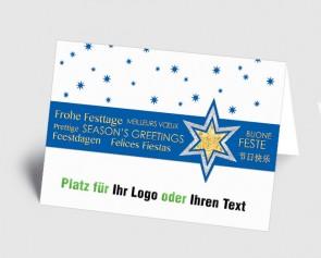 Logo-Weihnachtskarte 157525-101 international, Sterne blau
