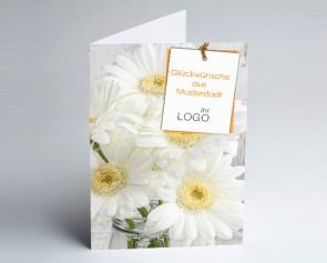 Grüße aus... Glückwunschkarte 157718-113 Weißer Blumenstrauß