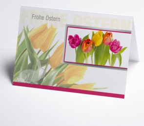 Osterkarte150955-112 bunte Tulpen